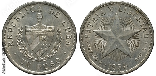 Photo  Cuba Cuban silver coin 1 one peso 1934, shield with designs flanked by sprigs, d