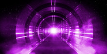 Light Tunnel, Dark Long Corridor With Neon Lamps. Abstract Purple Background With Smoke And Neon Lights. Concrete Floor, Symmetrical Reflection And Mirroring. 3D Illustration.