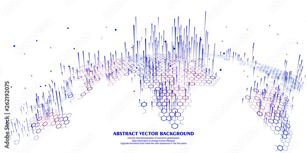 Fototapety, obrazy: Hexagonal vector grid globe representing high tech, cloud computing and internet big data