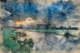 Fototapeta Londyn - Watercolour painting of Beautiful sunrise landscape of Priory ruins in countryside location