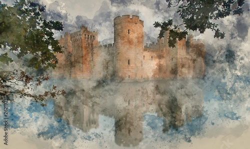 Watercolor painting of medieval castle at sunrise landscape Poster Mural XXL