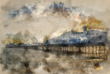 Fototapeta Londyn - Watercolor painting of Winter sunset over Victorian pier in Brighton.