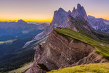 Fototapeta Room - Beautiful sunrise and Odle Mountain landscape in Dolomites, Italy from Seceda peak.