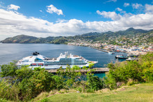Cruise Ship In Kingstown Harbor, St Vincent And The Grenadines.