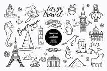 European Sights, Landmarks All Around The World, Travel Icons, Marine Cruise Icons. Vector Collection Of Hand Drawn Doodle Style Clipart Illustration Places Of Interest Isolated On White Background.