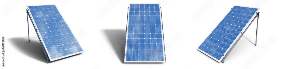 Fototapety, obrazy: 3D illustration solar panels isolated on white background. Set solar panels with reflection beautiful blue sky. Concept of renewable energy. Ecological, clean energy. Eco, green energy. Solar cells.