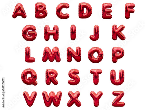 Red alphabet foil party celebration balloons. 3D rendering Wall mural