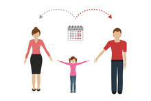 Patchwork Family Time Management Concept Child Care Divorced Parents Vector Illustration EPS10