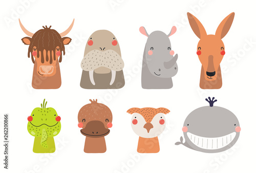 In de dag Illustraties Big set of cute funny animals faces. Isolated objects on white background. Hand drawn vector illustration. Scandinavian style flat design. Concept for children print.