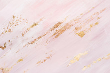 Pink Marble Pattern Background With Gold Brushstrokes. Place For Your Design