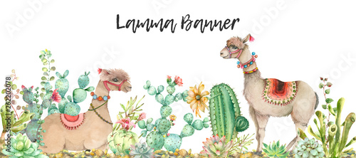 Desert Lama banner watercolor Wallpaper Mural