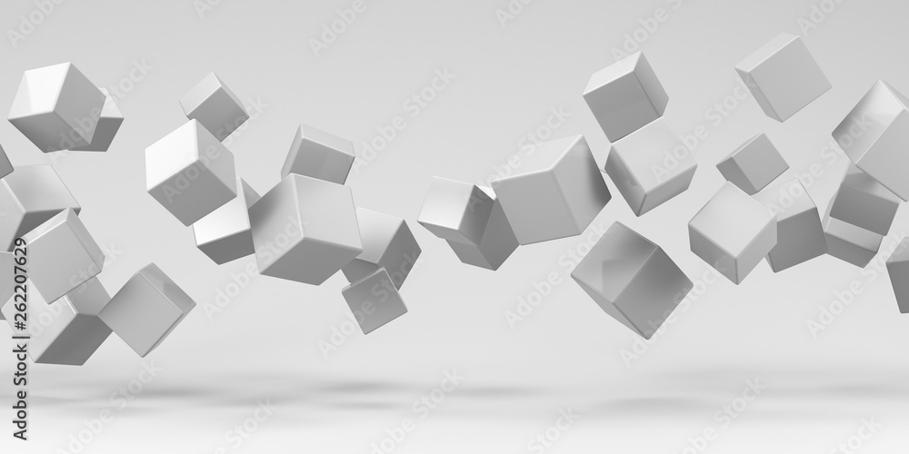 Fototapety, obrazy: Flying cubes on a white background. 3d render.
