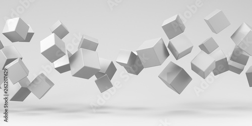 Flying cubes on a white background. 3d render. Wallpaper Mural