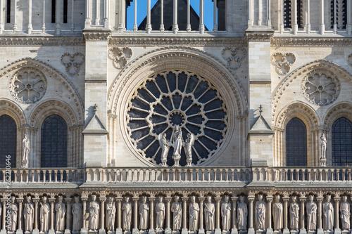 Stampa su Tela Front facade of Notre Dame Cathedral in Paris