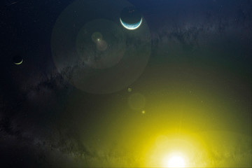 view of moon earth and sun in outer space, elements of this image furnished by nasa b