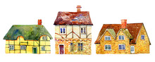 English Village Buildings Separated In Row. Watercolor Old Stone Europe Houses. Hand Drawn Illustration