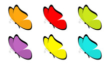 Butterfly Icon Set. Cute Carto...