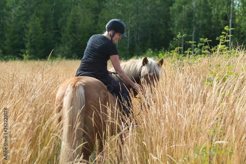 Poster de jardin Vache Woman horseback riding