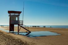 Sea Beach And Life Saver Tower