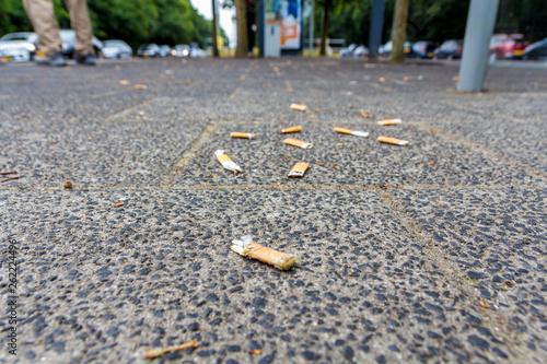 Fotografie, Obraz  cigarette butts on the street smoking is bad for your health