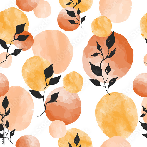 Garden Poster Retro sign seamless watercolor pattern