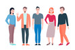 Young men and women in flat design people characters