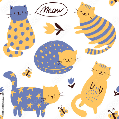 Cats pattern Childish print. Vector children's illustration