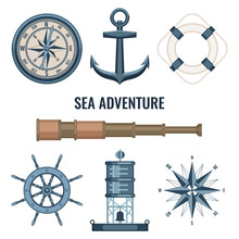Set Of Marine, Maritime Or Nautical Icons With An Anchor, Telescope, Lifebuoy, See Buoy, Compass, Compass Rose And Ships Steering Wheel Isolated On White Background. Vector