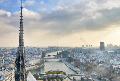 Fotografía Spire of Notre Dame Cathedral, aerial view from the landmark top - Paris, France