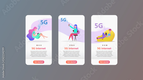 5G network concept  Cartoon character uses fast mobile