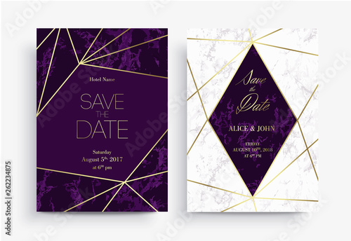 Two Save the Date card template. Geometric design.