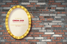 Oval Frame On Brick Wall Background.
