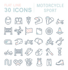 Set Vector Line Icons of Motorcycle Sport.