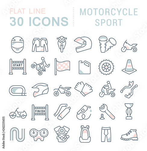 Set Vector Line Icons of Motorcycle Sport. Wallpaper Mural