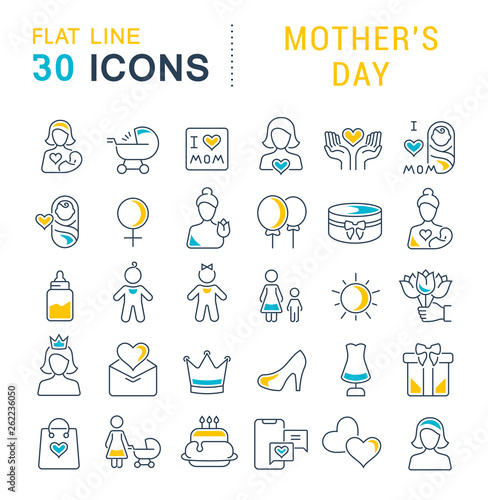 Set Vector Line Icons of Mother's Day Wallpaper Mural