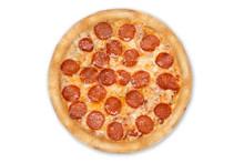 Fresh Italian Classic Original Pepperoni Pizza Isolated On White