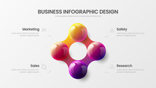 Business 4 Option Infographic Presentation Vector 3D Colorful Balls Illustration. Corporate Marketing Analytics Data Report Design Layout. Company Statistics Information Graphic Visualization Template