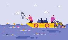 Disposal Garbage In Sea Or Ocean Cartoon Flat.