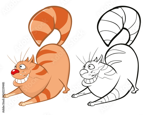 Foto op Aluminium Babykamer Vector Illustration of a Cute Cartoon Character Cat for you Design and Computer Game. Coloring Book Outline Set
