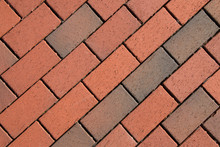 Photo Of Red Brick Patterns Designed By Construction Workers And Contractors.