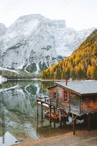 Lago di Braies in fall, Dolomites, South Tyrol, Italy Fototapeta