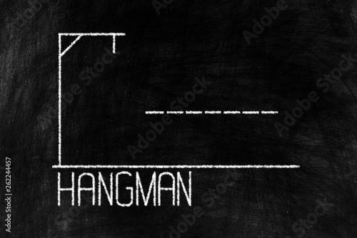 Fototapeta  Hangman Chalk Writing on Old Grunge Chalkboard Background.
