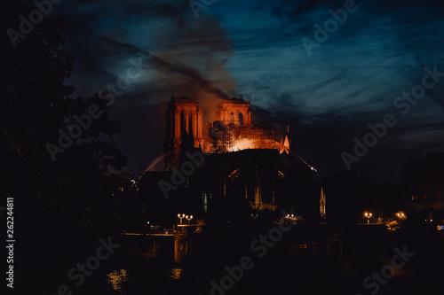 Poster de jardin Paris La Cathédrale Notre Dame de Paris ravagée par les flammes