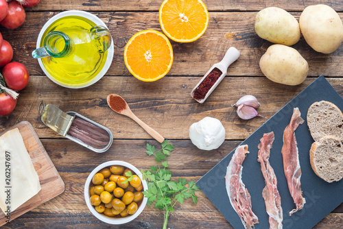 Fotografie, Obraz  typical ingredients of spain