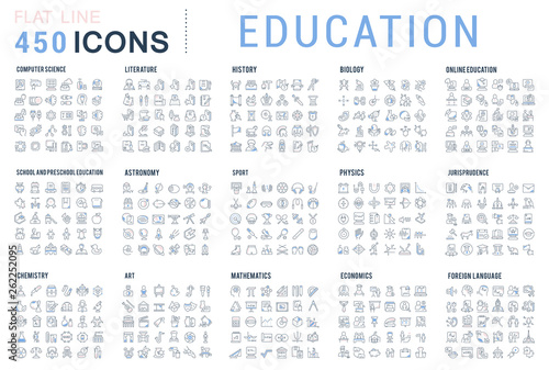 Obraz Set Vector Line Icons of Education - fototapety do salonu