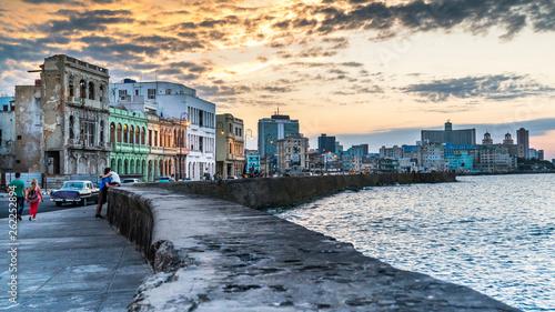 Poster Havana Havana Cuba. Malecon - Havana's famous embankment promenade in Havana, Cuba