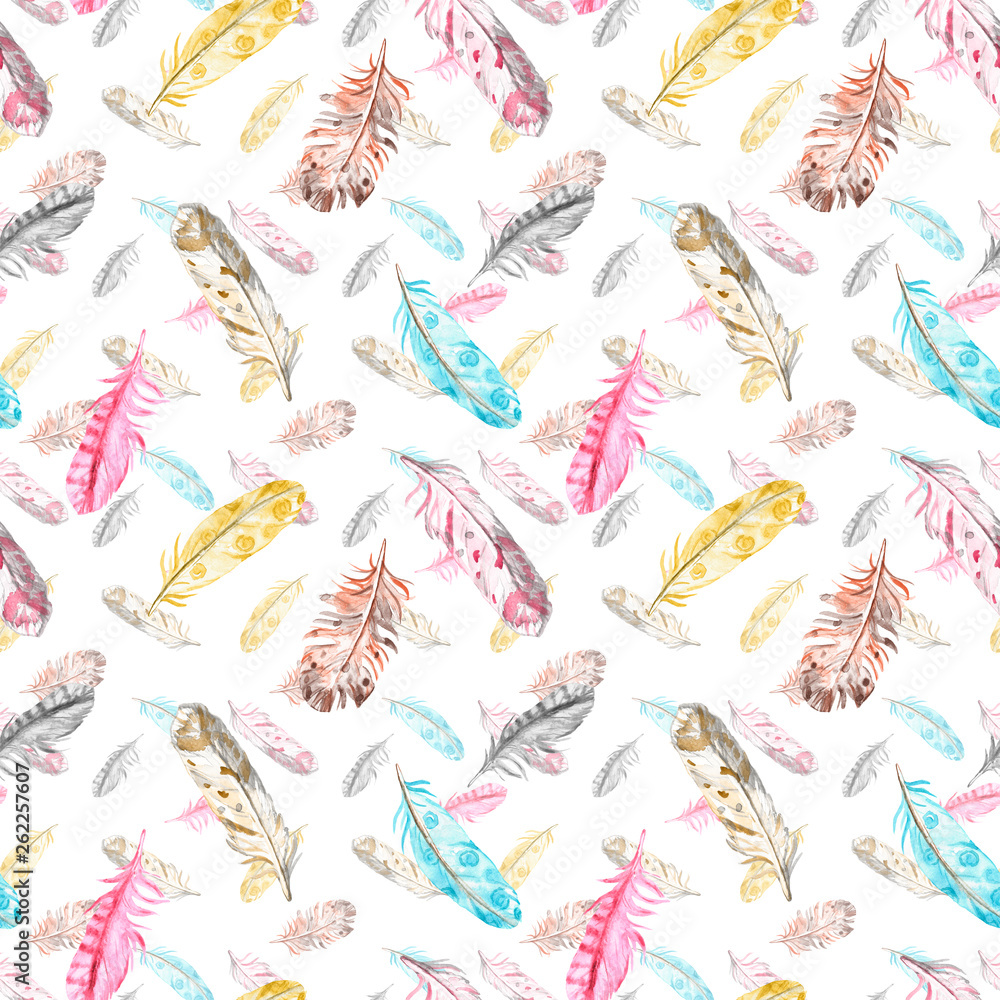 Watercolor bird feathers seamless pattern in pastel colors on white background. Hand drawn ethnic tribal illustration in boho style. Best for spring cards, easter design, wrapping paper, textile.