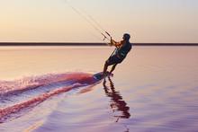 Kitesurfer On The Pink Lake