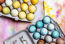 Naturally Dyed Easter Eggs In Egg Carton