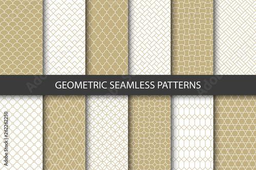 Fototapeten Künstlich Vector set of golden ornamental seamless patterns. Collection of geometric luxury modern patterns. Patterns added to the swatch panel.